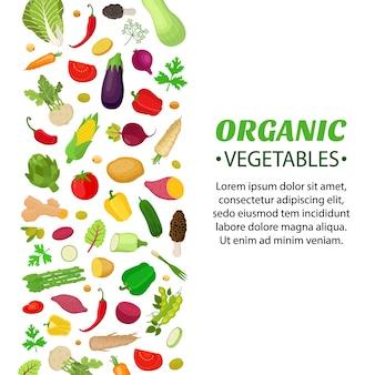 Ensemble de légumes, logo, étiquette, bon