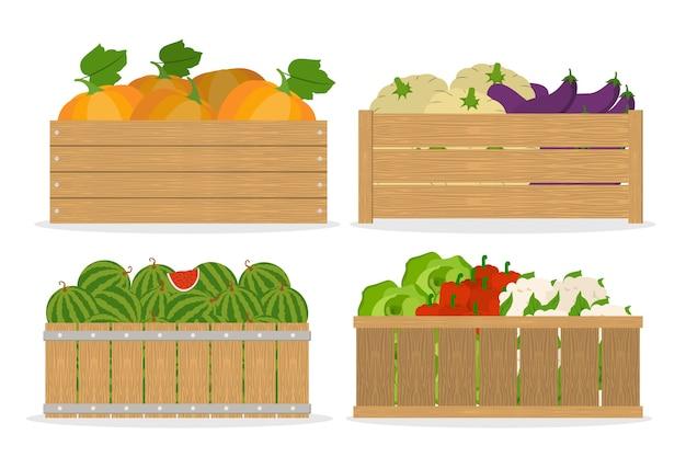 Ensemble de légumes. nourriture dans une boîte en bois. marché avec une alimentation saine. chou et pastèque, poivre. illustration