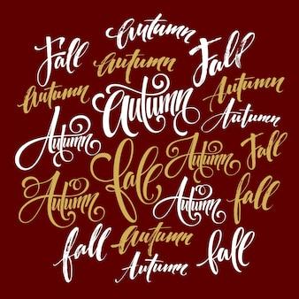 Ensemble de lettrage d'automne et d'automne