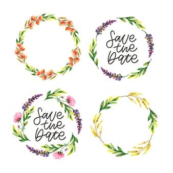 Ensemble de lettrage et couronne florale save the date