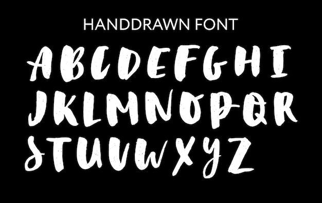 Ensemble de lettrage dessiné à la main. alphabet de vecteur. typographie personnalisée pour les dessins