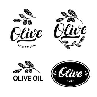 Ensemble de lettrage écrit à la main d'huile d'olive
