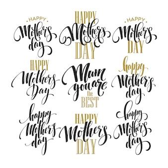 Ensemble de lettrage de la fête des mères