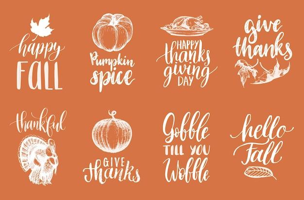Ensemble de lettrage et d'illustrations pour le jour de thanksgiving. étiquettes dessinées à la main et manuscrites de gobble till you wobble, happy fall, etc.