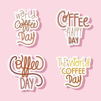 Ensemble de lettrage de jour de café