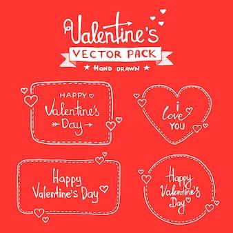 Ensemble de lettrage à la main happy valentines day - fond typographique avec ornements, coeurs, ruban et flèche