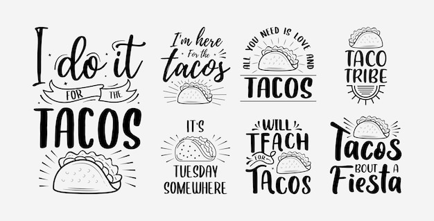Ensemble de lettrage taco avec illustration vectorielle cinco de mayo typographie dessinée à la main drôle