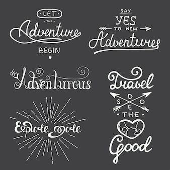 Ensemble de lettrage de vecteur d'aventure et de voyage