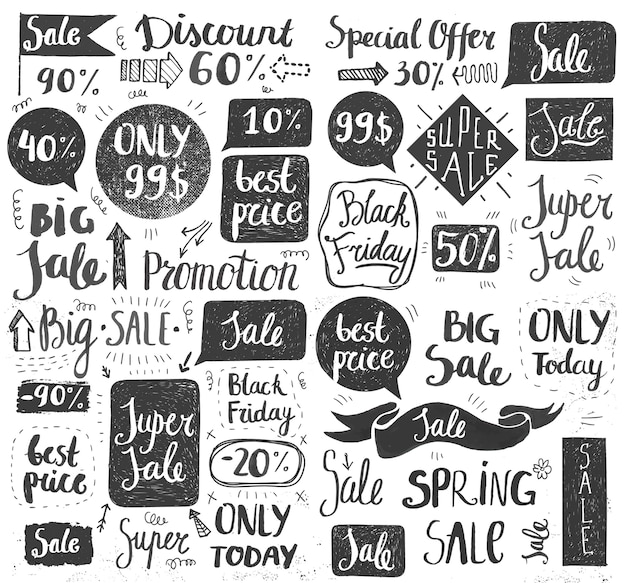 Ensemble de lettrage de vente doodle dessiné à la main, typographie, cadres, bulles. bannière de promotion au détail pour offre de réduction ou liquidation du black friday. noir et blanc