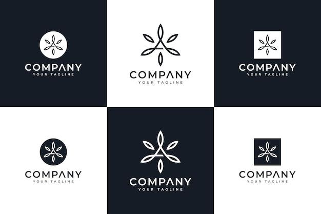 Ensemble de lettre une conception créative de logo de feuille pour toutes les utilisations