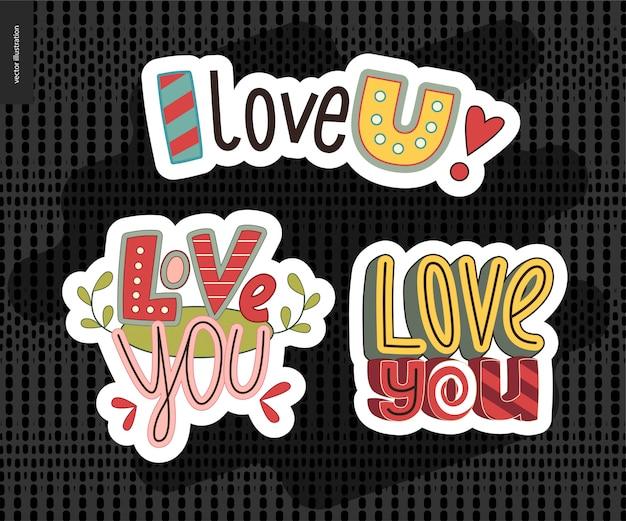 Ensemble de lettre de fille contemporaine love you