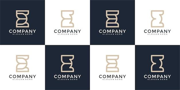 Ensemble de lettre initiale abstraite e avec modèle de conception de logo de style art en ligne