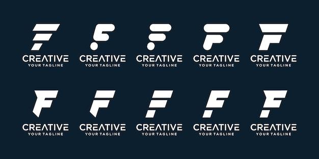 Ensemble De Lettre Initiale Abstraite F Avec Modèle De Logo De Style Art En Ligne. Vecteur Premium