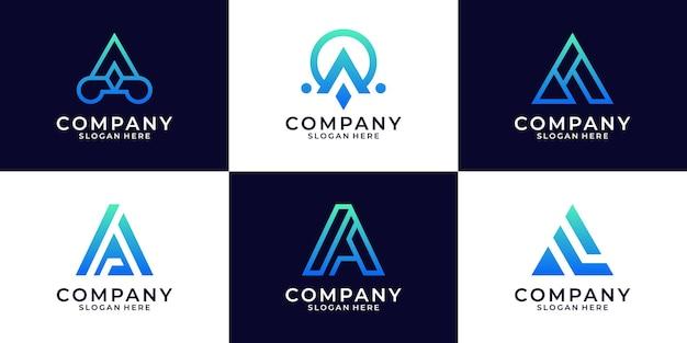 Ensemble de lettre initiale abstraite un modèle de logo.