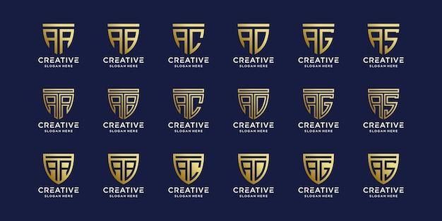 Ensemble de lettre initiale de conception de logo monogramme a combinée avec d'autres dans le bouclier