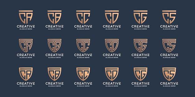 Ensemble de lettre initiale de conception de logo monogramme c combinée avec d'autres dans le bouclier