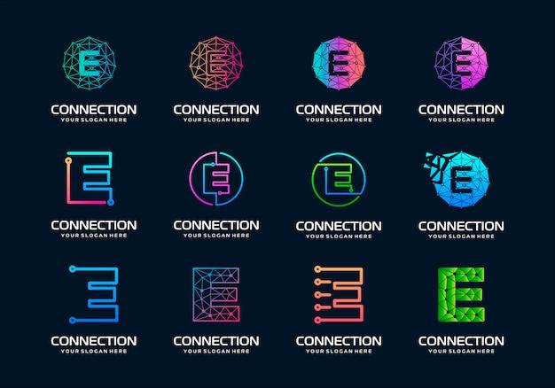 Ensemble de lettre initiale créative e création de logo de technologie numérique moderne.