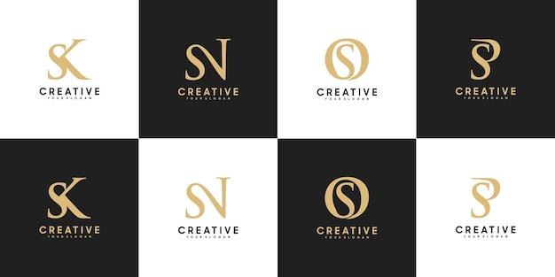 Ensemble de la lettre initiale du logo sk - sp, référence pour votre logo de luxe