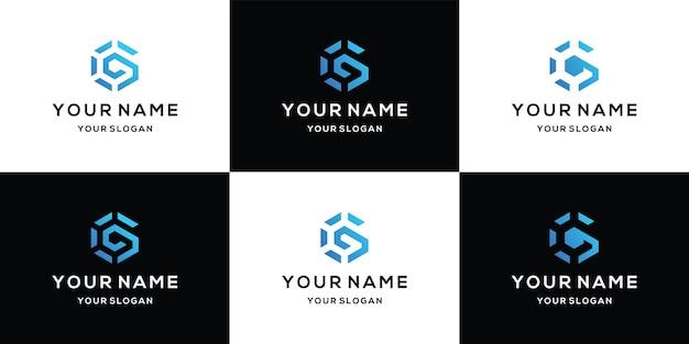 Ensemble de lettre initiale g abstrait vecteur modèle de conception de logo icône concept typographique créatif