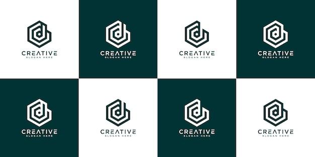 Ensemble de lettre initiale d modèle vectoriel logo abstrait