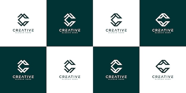 Ensemble de lettre initiale c modèle vectoriel logo abstrait