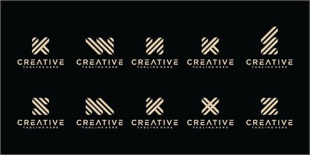 Ensemble de lettre de ligne moderne a - modèle de conception de logo z. collections de logos de lettres de ligne