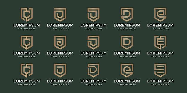 Ensemble de lettre monogramme cde et combinaison de signe de bouclier.