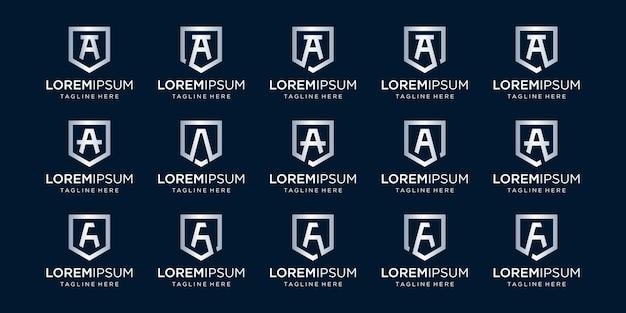 Ensemble de lettre a monogramme et combinaison de signe de bouclier symbolise le logotype de luxe de sécurité de sécurité