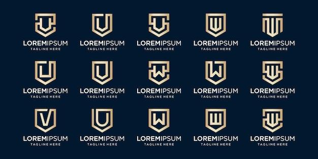 Ensemble de lettre monogramme vwu et bouclier signe combinaison sécurité puissance sécurité logotype de luxe