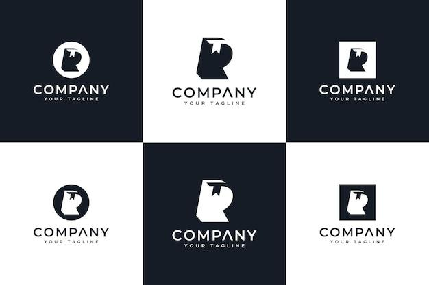 Ensemble de lettre r et conception créative de logo de livre pour toutes les utilisations