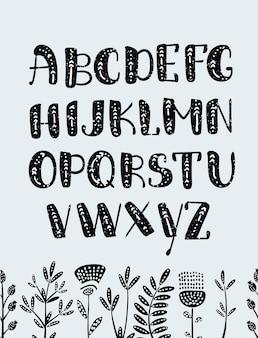 Ensemble de lettres abc polices graphiques dessinés à la main coloré alphabet vecteur tribal ethnique