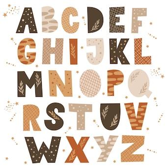 Ensemble de lettres de l'alphabet.