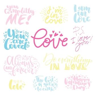 Ensemble de lettres d'amour pour la saint valentin. dessinés à la main lettrage citation illustration vectorielle