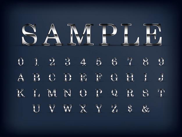 Ensemble de lettres et chiffres de l'alphabet anglais moderne argent de luxe sur couleur noire
