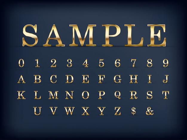 Ensemble de lettres et chiffres de l'alphabet anglais moderne d'or de luxe sur la couleur noire