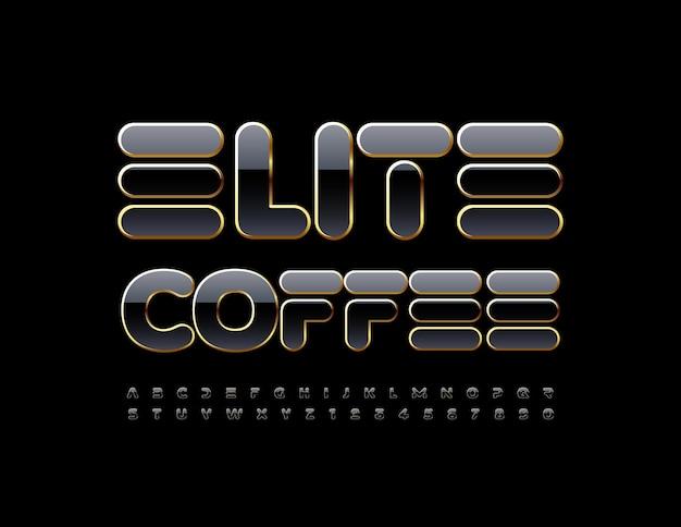 Ensemble de lettres et de chiffres de l'alphabet de luxe de police brillante élégante de café d'élite