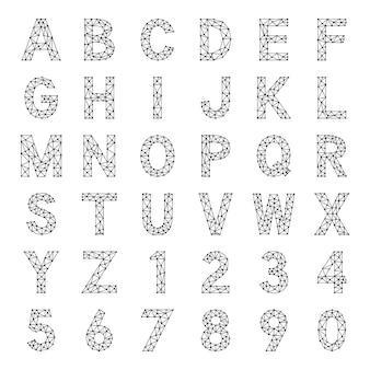 Ensemble de lettres et de chiffres polygonaux, clipart vectoriel.