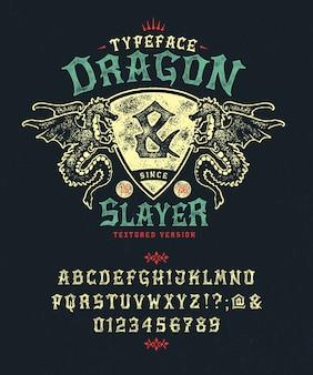 Ensemble de lettres fantaisie texturées avec des dragons et un bouclier