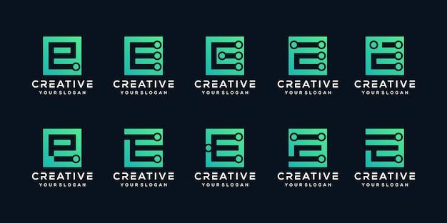 Ensemble de lettres de logo créatif e tech avec style carré