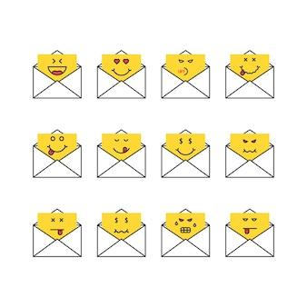 Ensemble de lettres de messages emoji fine ligne. concept de boîte aux lettres, chat simple, gourmand miam, humour, triste, satisfait, haineux, ennuyé, colère, mort. conception graphique de logotype moderne tendance style plat sur fond blanc