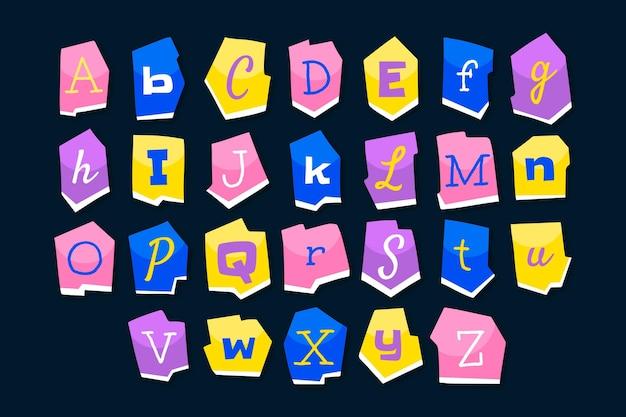 Ensemble de lettres de note de rançon de style papier
