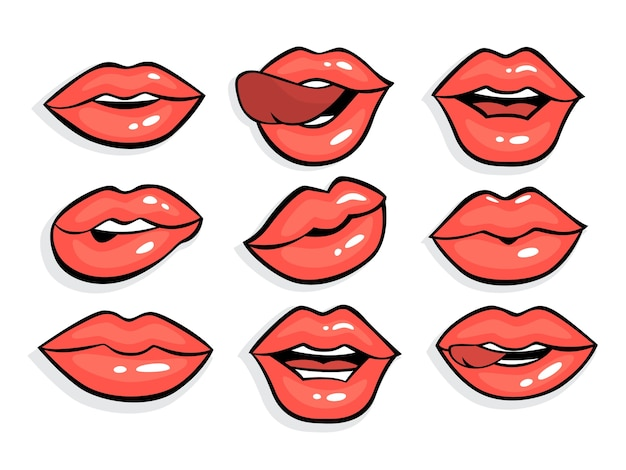 Ensemble de lèvres sexy pop art rouge. bouche avec rouge à lèvres dessus dans un style bande dessinée vintage. collection de lèvres de fille avec la langue. illustration