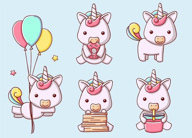 Ensemble de licorne mignonne dans diverses poses, illustration vectorielle, style cartoon