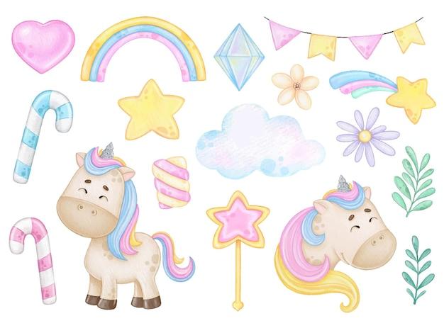 Ensemble de licornes arc-en-ciel aquarelles et éléments magiques sur fond blanc