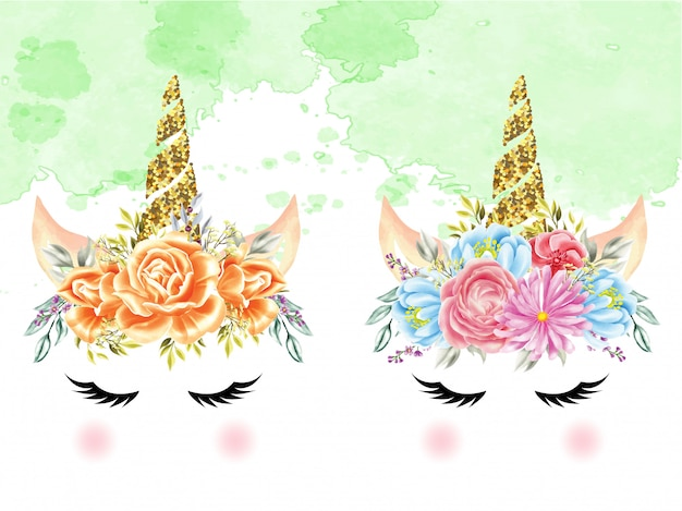 Ensemble de licornes couronnes florales aquarelles