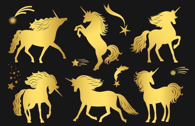 Ensemble de licornes dorées magiques et étoiles filantes