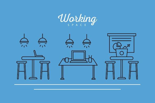 Ensemble de lieux de travail conception d'icônes de style de ligne de coworking illustration