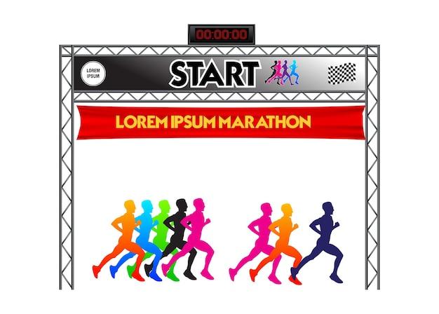 Ensemble de ligne d'arrivée de départ de marathon réaliste vecteur eps isolé