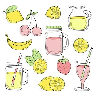 Ensemble de ligne de cocktails d'été dessinée sur une nourriture de croquis de vecteur de fond blanc