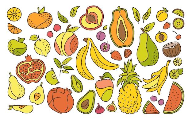 Ensemble de ligne de dessin animé de fruits hawaïens exotiques, fruits tropicaux, pastèque ananas mûre poire et mandarine.